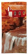 Watermill In Autumn Bath Towel