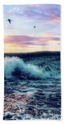 Waves Crashing At Sunset Bath Towel