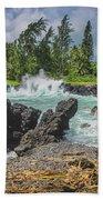 Waves Crashing Kawee Point Bath Towel