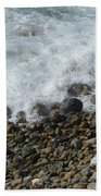 Waves Meet Pebbles Bath Towel