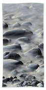 Waves On Cobble-panoramic Hand Towel