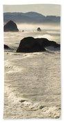 Waves Roll Ashore On The Oregon Coast Bath Towel