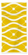 Waves With Border In Mustard Bath Towel