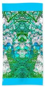 Waxleaf Privet Blooms In Aqua Hue Abstract With Aqua Frame Bath Towel