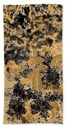 Waxleaf Privet Blooms On A Sunny Day In Black And White - Color Invert With Golden Tones Bath Towel