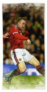 Wayne Rooney Of Manchester United Scores Bath Towel