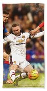 Wayne Rooney Shoots At Goal Bath Towel