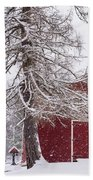 Wayside Inn Red Barn Covered In Snow Storm Reflection Bath Towel