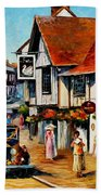 Wedding Day In Lavenham-suffolk-england - Palette Knife Oil Painting On Canvas By Leonid Afremov Bath Towel
