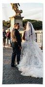 Wedding Stroll On The Ponte Sant'angelo Bath Towel