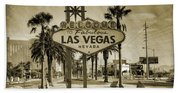 Welcome To Las Vegas Series Sepia Grunge Bath Towel
