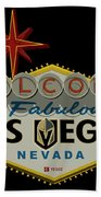 Welcome To Vegas Knights Sign Digital Drawing Bath Towel