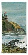 West Quoddy Head Lighthouse Bath Towel