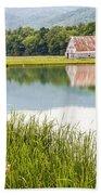 West Virginia Barn Reflected In Pond   Bath Towel
