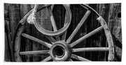 Western Rope And Wooden Wheel In Black And White Hand Towel