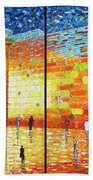 Western Wall Jerusalem Wailing Wall Acrylic Painting 2 Panels Bath Towel
