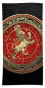 Western Zodiac - Golden Leo - The Lion On Black Velvet Bath Towel