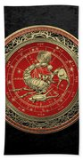 Western Zodiac - Golden Scorpio - The Scorpion On Black Velvet Bath Towel