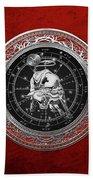 Western Zodiac - Silver Taurus - The Bull On Red Velvet Bath Towel