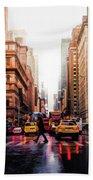 Wet Streets Of New York City Bath Towel