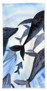 Whale Family On Sun Ray Bath Towel