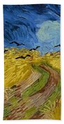 Wheat Field With Crows At Wheat Fields Van Gogh Series, By Vincent Van Gogh Hand Towel