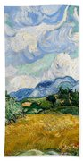 Wheatfield With Cypresses Bath Towel