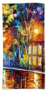 When The City Sleeps 2 - Palette Knife Oil Painting On Canvas By Leonid Afremov Bath Towel