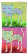 Whimsical Colorful Tabby Cat Pop Art Bath Towel