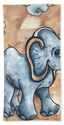Whimsical Pop Art Childrens Nursery Original Elephant Painting Adorable By Madart Hand Towel