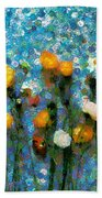 Whimsical Poppies On The Blue Wall Bath Towel