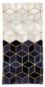 White And Navy Cubes Bath Towel by Elisabeth Fredriksson
