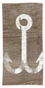 White And Wood Anchor- Art By Linda Woods Bath Towel