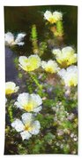 White And Yellow Poppies Abstract 2   Bath Towel