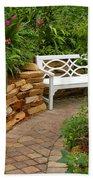 White Bench In The Garden Hand Towel
