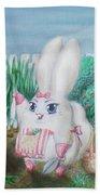 White Bunny Bath Towel