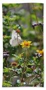 White Butterfly On Golden Daisy Bath Towel