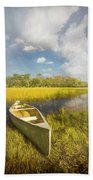 White Canoe Textured Painting Bath Towel