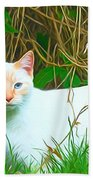 White Cat Bath Towel