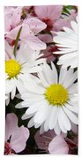 White Daisies Flowers Art Prints Spring Pink Blossoms Baslee Bath Towel