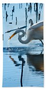 White Egret At Horicon Marsh Wisconsin Bath Towel