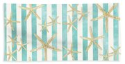 White Finger Starfish Watercolor Stripe Pattern Bath Towel