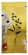 White Floral Collage Bath Towel