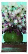 White Flowers In A Vase Bath Towel