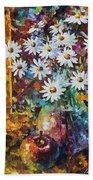 White Flowers Bath Towel