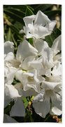 White Flowers On Green Leaves Hand Towel