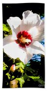 White Hibiscus High Above In Shadows Bath Towel