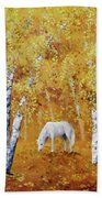 White Horse In Golden Woods Bath Towel