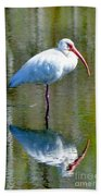 White Ibis And Reflection Bath Towel