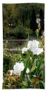 White Irises Bath Towel